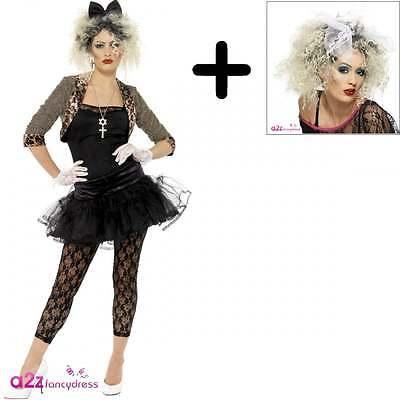 80s Wildes Kind Madonna Pop Star Erwachsener Abendkleid Karneval KOSTÜM + WIG