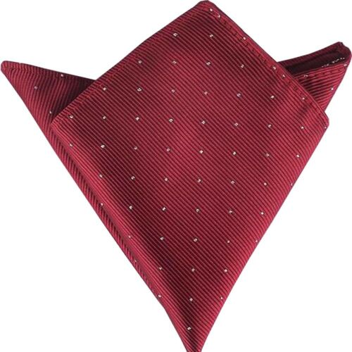 (t67)new Red With Dot Men Formal Pocket Square Hankie Wedding Party Handkerchief