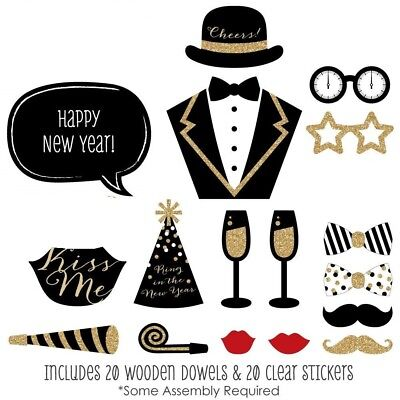New Years Eve Party - Gold - 2019 New Year's Photo Booth Props Kit - 20 Count](New Years Eve Party Kit)