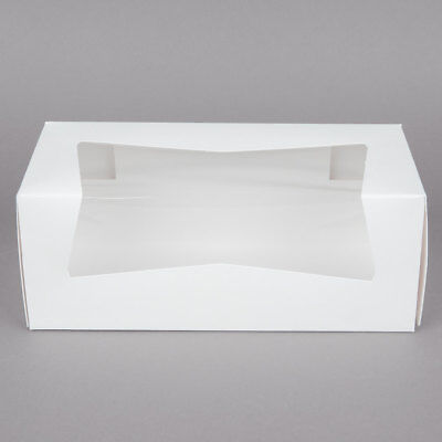 25 Window Bakery Box 9x4x3.5 White For Cupcake Cookie Candy Pastry Favor Gift
