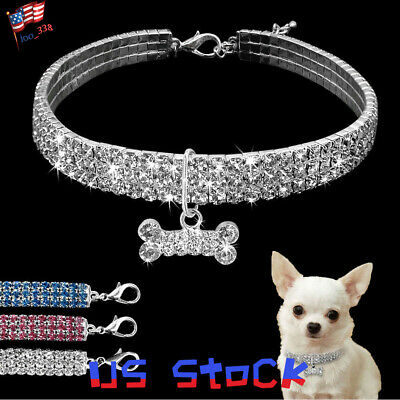 Puppy Necklace (Crystal Dog Necklace Collar Rhinestone Jeweled Puppy Necklace Chain For Dog)