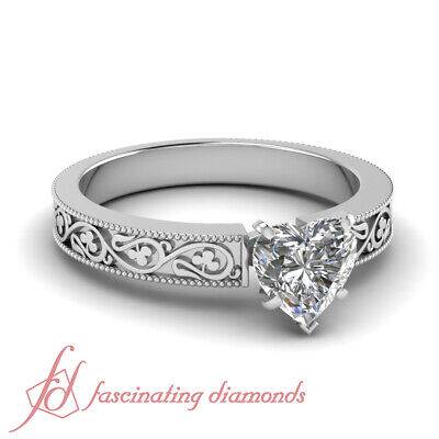 1/2 Carat Heart Shape Diamond Solitaire Engagement Ring 14K Gold SI1-F Color GIA