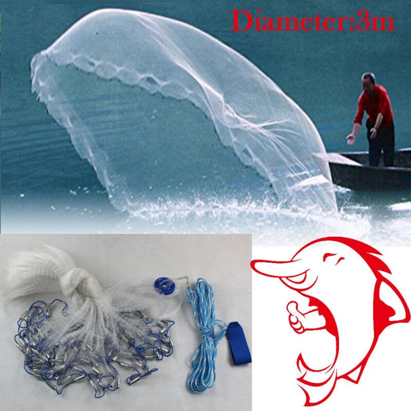 10ft-22ft Cast Net Hand Mesh Saltwater Clear Bait Trap Casting Net W/ Sinker
