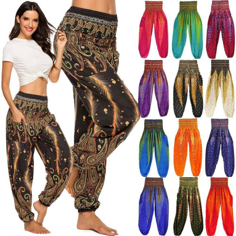 Men Womens Comfy Soft Loose Yoga Pants Harem Baggy Gypsy Casual Dance Trousers