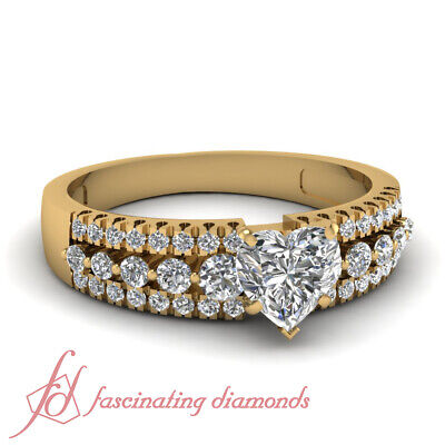 .85 Ct Heart Shaped Triple Row Round Diamond Engagement Ring 18K Yellow Gold GIA