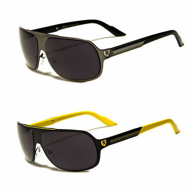 Shield Retro 80s Aviator Sunglasses Mens Metal Frame Fashion Glasses Black Red ()