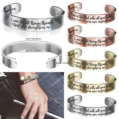 Philippians Proverbs Quotes Bible Engraved Bracelet Wristband Fashion -