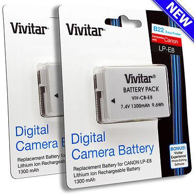 2x Vivitar LP-E8 Battery for Canon REBEL T5i T4i T3i T2i EOS 700D 650D 600D 550D