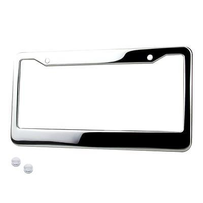 1* CHROME STAINLESS STEEL METAL LICENSE PLATE FRAME & TAG COVER SCREW CAPS