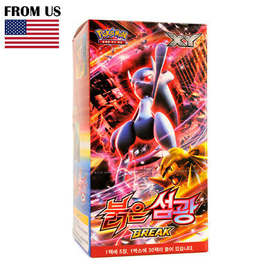 "Pokemon Cards Game XY Break Box ""Red Flash"" 30 Booster Packs Korean Version"