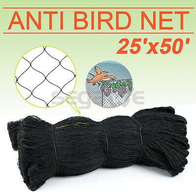 "50' x 25' Poultry Netting Quail Net Chicken Nets Multi-nylon Game Bird 2"" Hole"