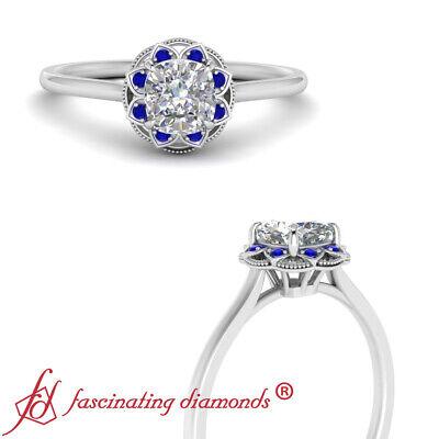 1 Carat Cushion Cut Diamond And Sapphire Gemstone Vintage Halo Engagement Ring