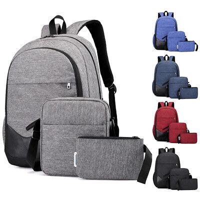 3PCS Men Women Boys Girls Backpack School Shoulder Bag Bookbags Canvas Travel
