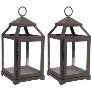 "NEW Hosley Set of 2-12"" High Clear Glass  Iron, Classic Style Lantern. Condition: New"