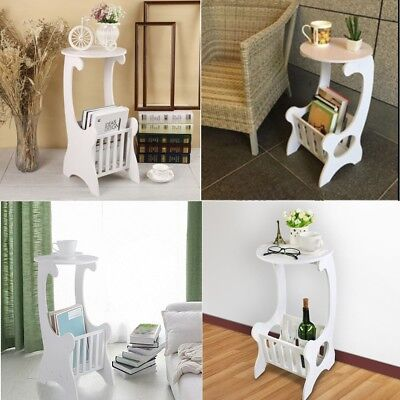 White Shabby Chic Round Side End Lamp Coffee Table Magzine Holder Rack Bedroom