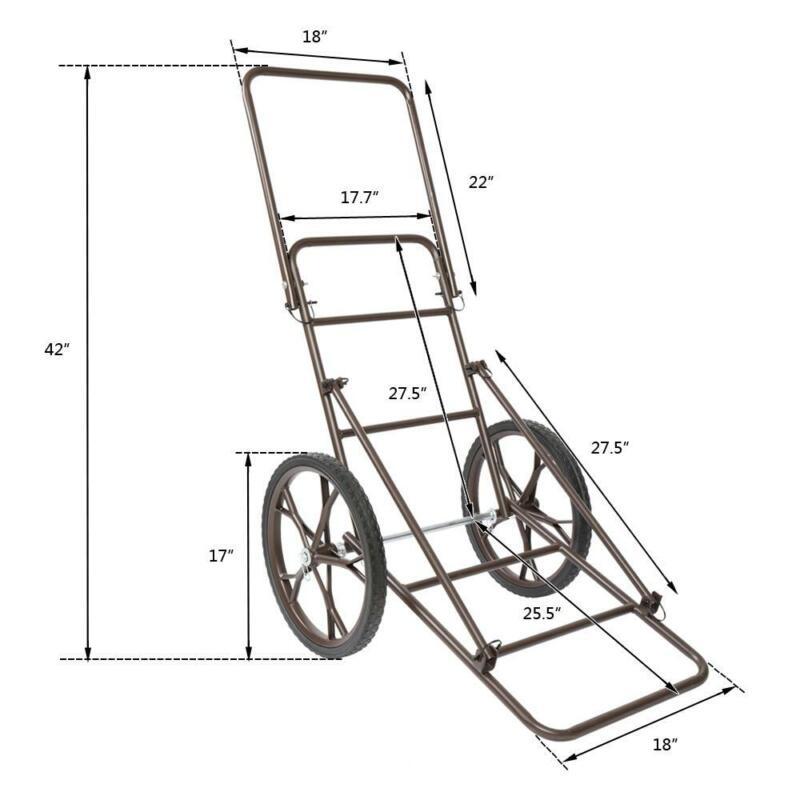 Folding Multifunctional Deer Hunting Cart Heavy Steel Shaft Luggage Cart Trolley