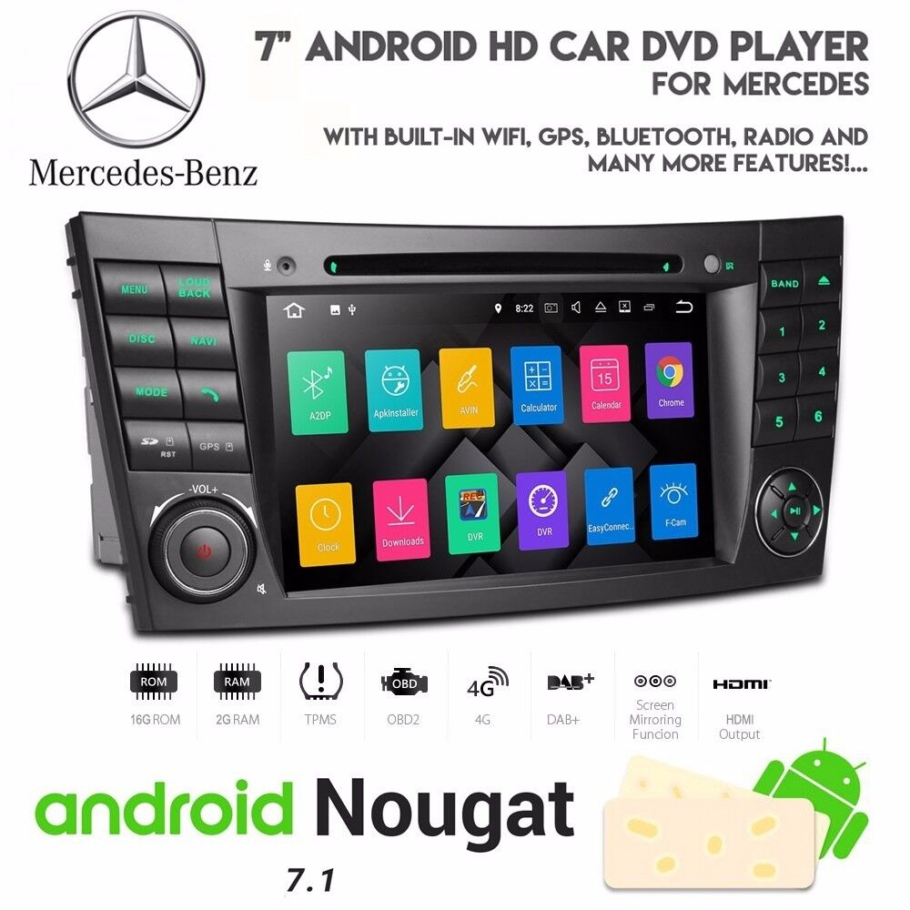 Mercedes E Class 7 Inch Android Audio Navigation Bluetooth Radio Car Broadcast Wiring Jobs London Wifi 3g Dvd Usb Sd Stereo