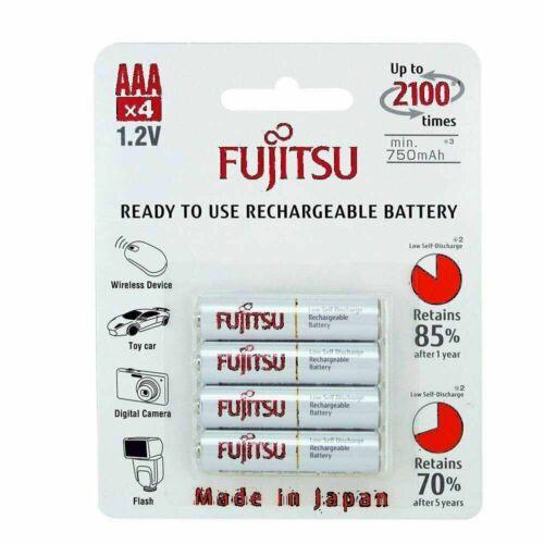 Fujitsu AAA 1.2V Rechargeable Batteries Min.750mAh 2,100 Times Made In Japan AAA