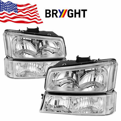 Chrome For 03-07 Chevy Silverado Avalanche Pickup Clear Headlights+ Bumper Lamps