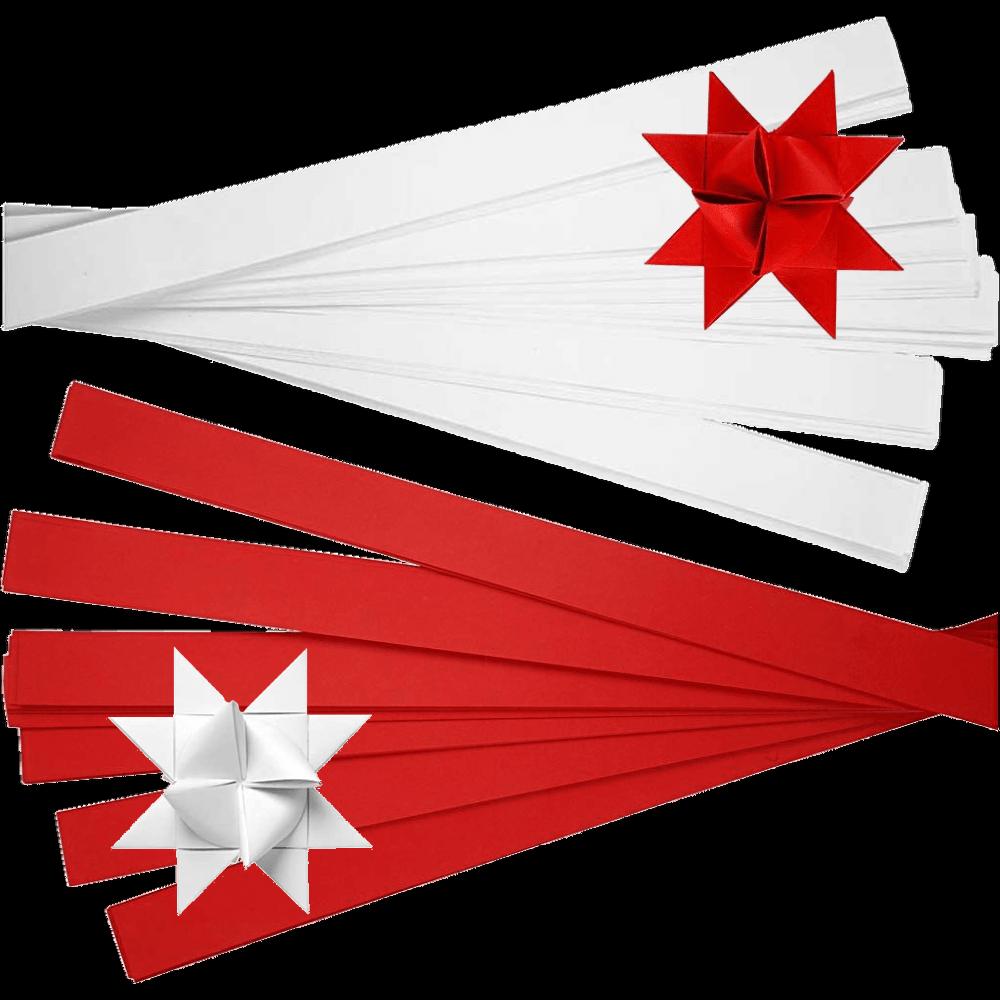 Fröbelsterne 100 Papierstreifen 25mm (3,56€/m²) weiß / rot = 25 Sterne Ø 11,5cm