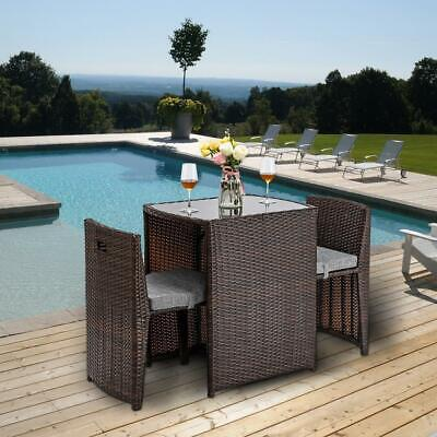3PCS Patio Rattan Wicker Garden Furniture Set with Glass Top Table 2 Chairs Glass Top Patio Tables