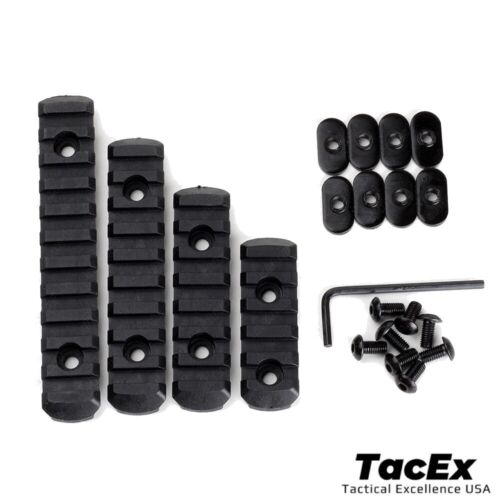4 Pack M-LOK 5 7 9 11 Slot Polymer 4 Rail Set Picatinny Weaver Rail Section MOE