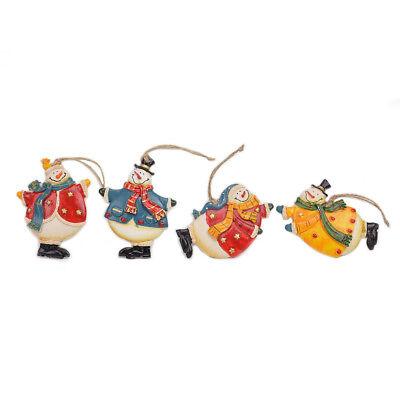Evelyne Holiday Season Christmas Embossed Ornaments Snowman 4pcs Set ()