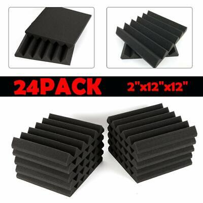 "2"" X 12"" X 12"" 24 Pack Acoustic Foam Tiles Sound Insulation Wedge Soundproofing"