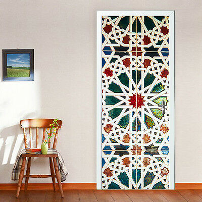 European Door Size 88cm W Stained Glass Effect Mural Stickers Home Decor Idea ](Door Decoration Ideas)