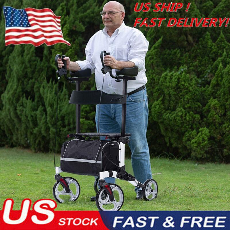 2020 White Walker Upright Rollator Walker Medical Seat Back 4 Wheel LightWeight
