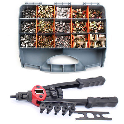 900pcs Riveter Gun Stainless Steel Rivet Nuts Insert Tools Mandrel Kit M3-m10