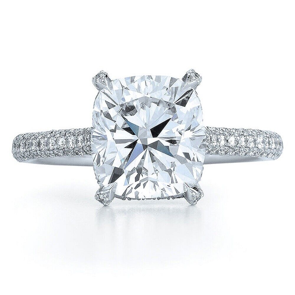 GIA Certified Cushion Cut Diamond Engagement Ring 2.45 carat 18k White Gold