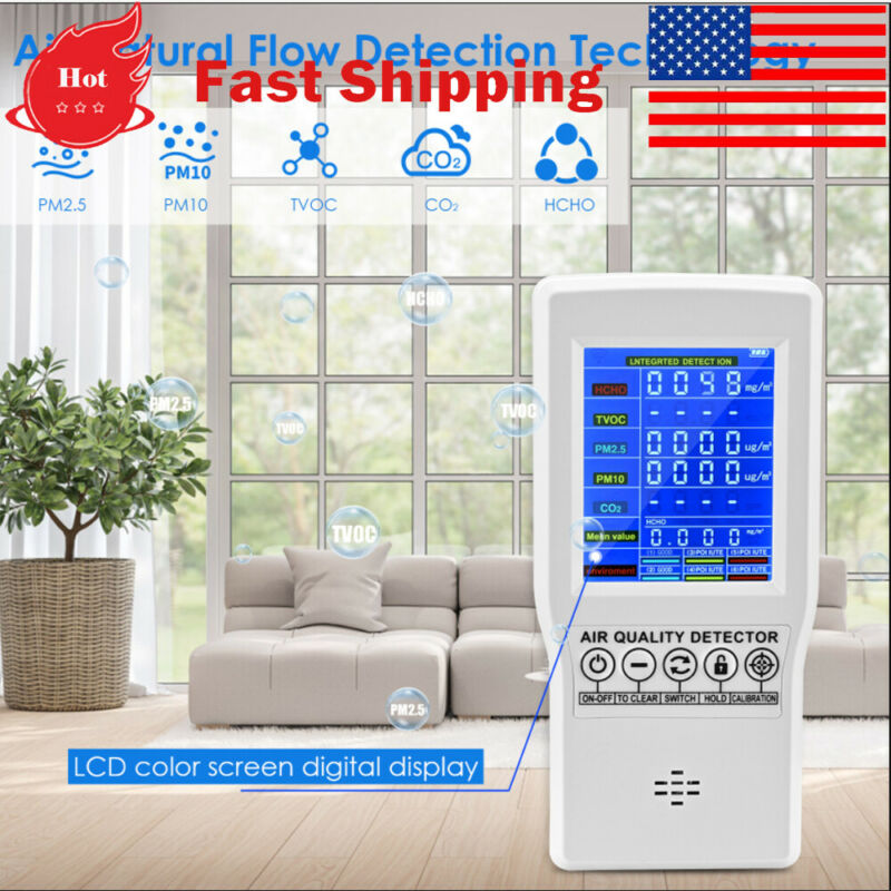 Air Quality Monitor Accurate Tester For Co2 Formaldehyde(hcho) Tvoc Pm2.5/pm10