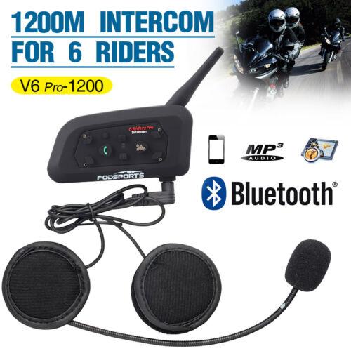 Motorcycle Interphone Bluetooth Intercoms Helmet Headset BT 1200M 6 Riders pro