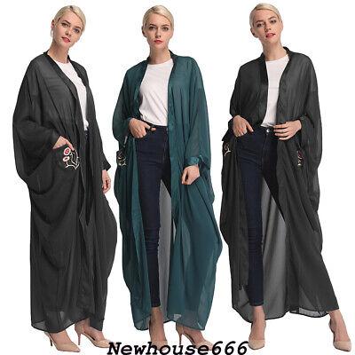 Ramadan Women Muslim Abaya Maxi Dress Kaftan Embroidery Cardigan Islamic Dubai