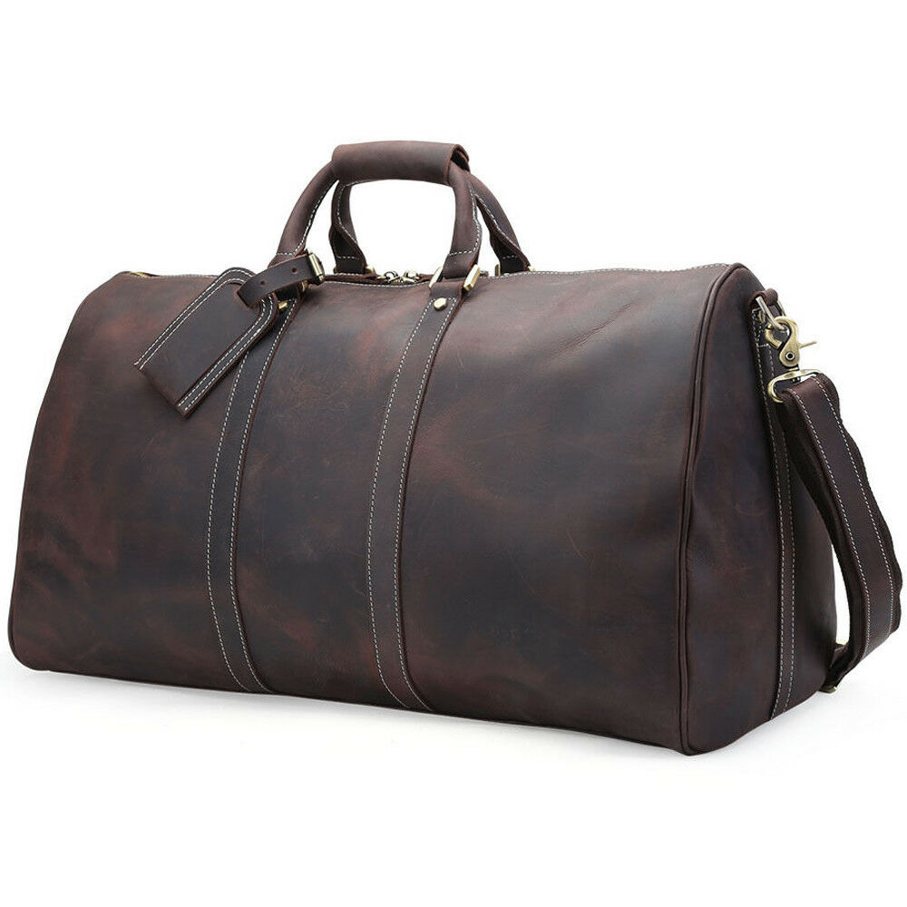"Men Genuine Leather Overnight Luggage Duffle Gym 17"" Laptop"