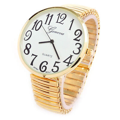 Super Stretch Band (Gold Super Large Size Round Face Stretch Band Easy to Read Geneva Women's Watch)