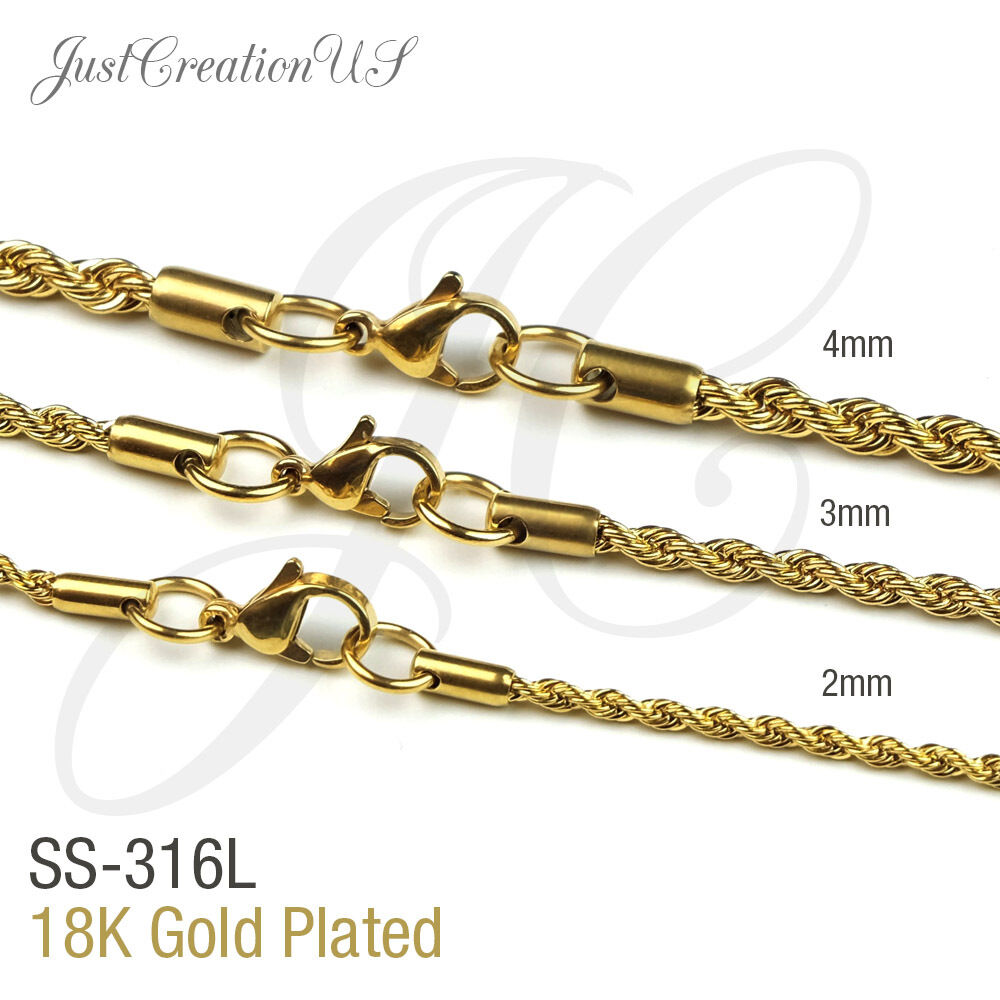 Gold Plated 18K, Stainless Steel 316L 2mm 3mm 4mm Rope Chain