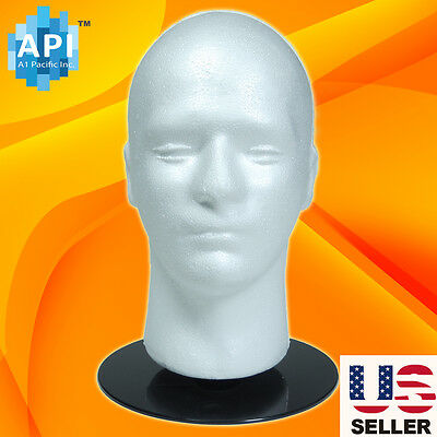 Male STYROFOAM FOAM MANNEQUIN MANIKIN head Holder Stand wig display hat 11""