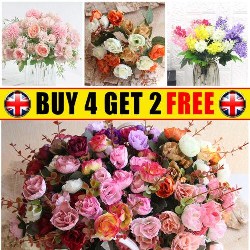 Home Decoration - Artificial Silk Peony Fake Flowers Bunch Bouquet Home Wedding Party Garden Decor
