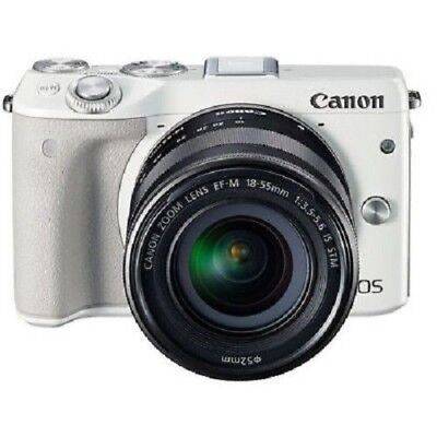 USED Canon EOS M3 with EF-M 18-55mm IS STM White Excellent FREE SHIPPING
