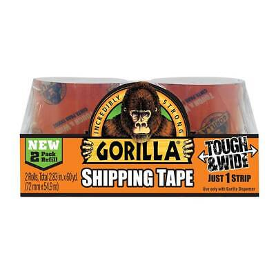 Gorilla Packaging Shipping Tape 2 Refill Rolls Clear Heavyduty Tough 2.83in Wide