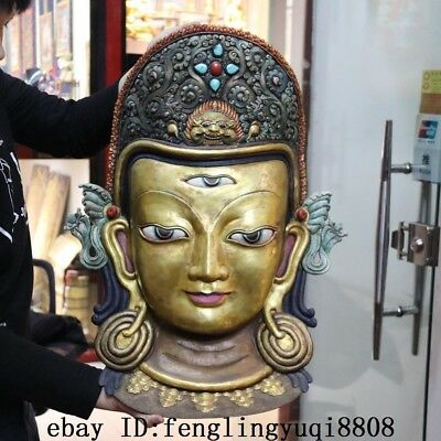 Tibetan Copper Gold Gilt Plating Painted Three Eyes Kwan-Yin GuanYin Buddha Mask