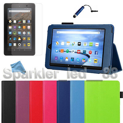 """2015 PU Leather Folio Case Cover Stand For Amazon 7"""" Kindle Fire + Bundle"""
