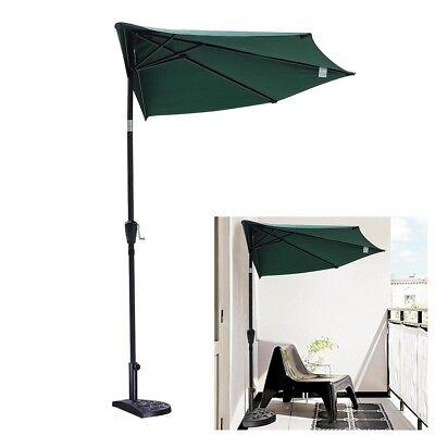 10ft Patio Aluminum Half Umbrella with Base Stand Outdoor Wall Sun Shade (Green Umbrella Base)