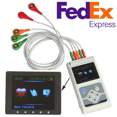 Contec 3 Channel Leads Ecgekg Holter Monitor Heart Disease Cardiology Analyzer