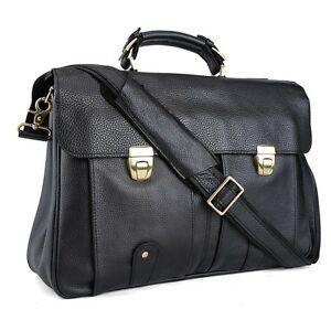100-real-Cowhide-Leather-Men-shoulder-Messenger-Bag-Briefcase-16-laptop-black