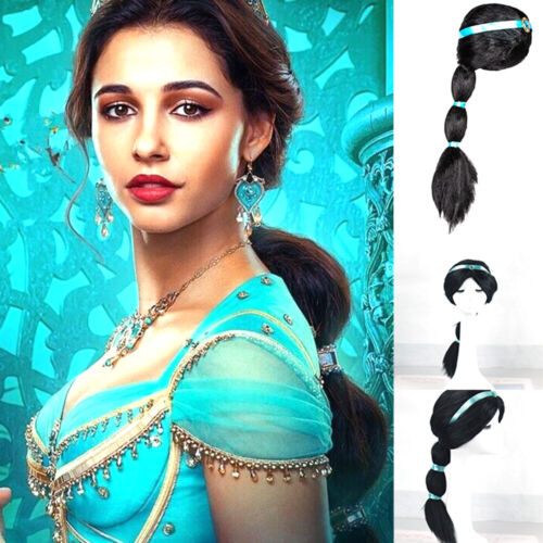 Aladdin Princess Jasmine Black Wig w/Ribbon For Halloween Costume Cosplay Party