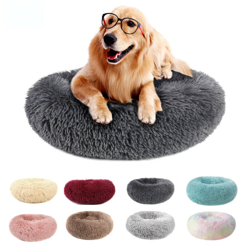 Donut Pet Dog Cat Calming Bed Ultra Warm Soft Long Plush Round Sleeping Bed