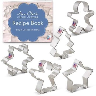 Christmas/Holiday Cookie Cutter Set with Recipe Book - 5 Piece - Snowflake St...